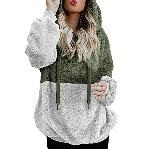 Chaofanjiancai Women Color Block Hooded Casual Sweatshirt Winter Warm Zipper Pocket Pullover Blouse Shirts Green