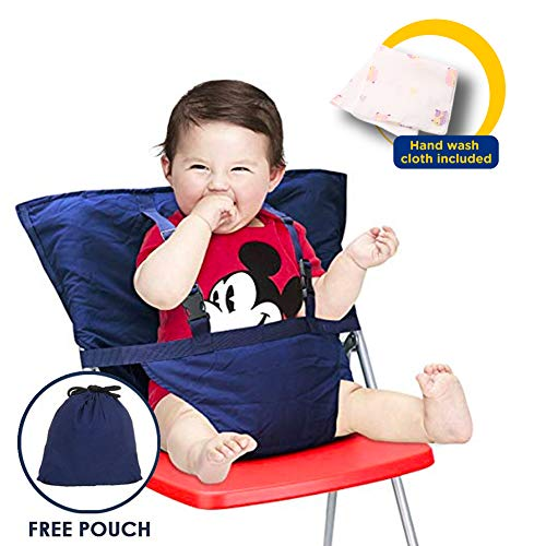Portable Travel Baby High Chair Feeding Booster Safety Seat Harness Cover Sack Cushion Bag Baby Kid Toddler Universal Size 44 lbs Capacity Soft Cotton Adjustable Straps Shoulder Belt Hand Wash Cloth from Baby HighChair Harness