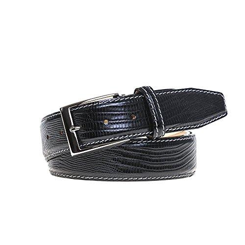 Black Mock Lizard Belt by Roger Ximenez: Bespoke Maker of Fine Leather Goods