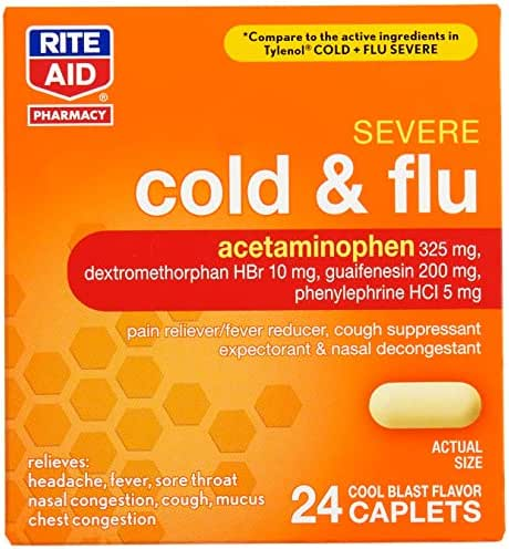 Rite Aid Severe Flu and Cold Relief Caplets - 24 Count | Pain Relief | Congestion Relief | Fever Reducer