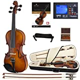 Cecilio CVN-300 Solidwood Ebony Fitted Violin with D\'Addario Prelude Strings, Size 4/4 (Full Size)
