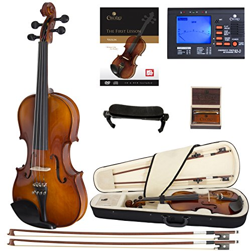 Cecilio CVN-300 Solidwood Ebony Fitted Violin with D'Addario Prelude Strings, Size 4/4 (Full Size) by Cecilio