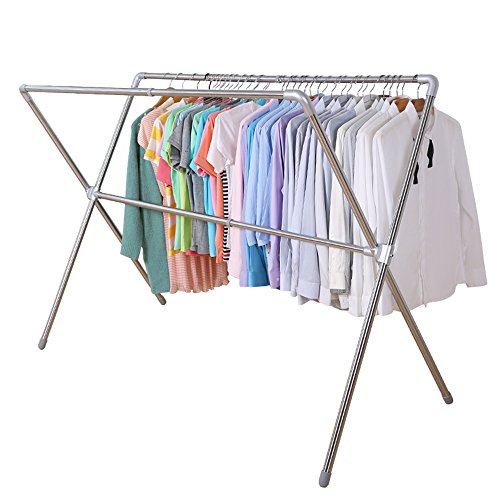 Iellevie double poles stainless steel extendable drying rack