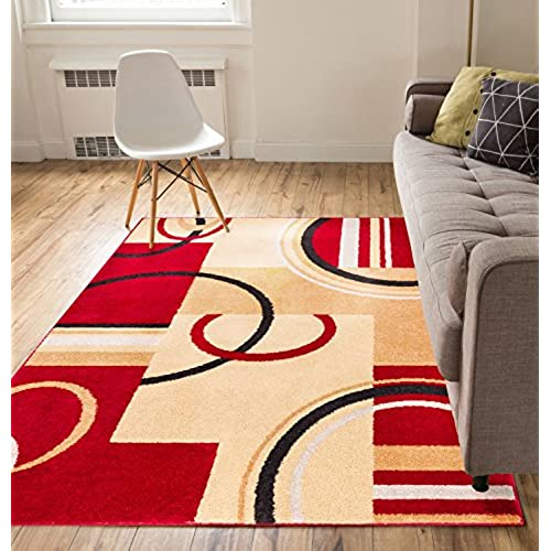 Metro Shapes Red U0026 Beige Modern Geometric Boxes U0026 Lines Pattern 5u0027 X 7u0027 Area  Rug Soft Shed Free Easy To Clean Stain Resistant
