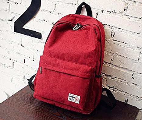 Amazon.com : Large capacity simple backpack schoolbag female students Korean Campus, Claret : Sports & Outdoors