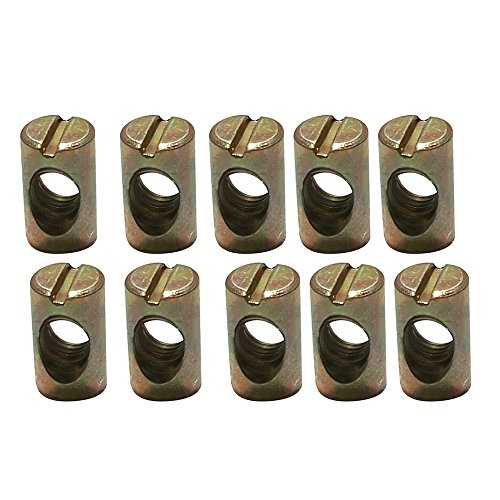 Souarts M8 Furniture Cross Hole Nut Carbon Steel Nut Dowels Slotted Nuts for Most Furniture Beds Crib Chairs,10Pcs (10pcs M8 Barrel Bolts)