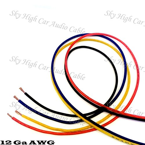 25' EACH RED, BLUE, BLACK, YELLOW - 100 ft 12 Ga AWG Primary / Remote Wire Lead 12 Ga 100' Primary Wire