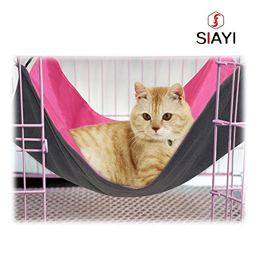 SIAYI Cat Hammock Bed Reverible Cage Chair Pet Hammock Comfortable Hanging Kitten Bed for Small Pets 22.8 x 17 inch