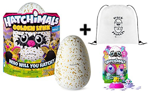Hatchimals Golden Lynx With Bonus Pack A Hatch Backpack   Colleggtibles 2 Pack   Nest  Season 1    A Gold Egg Hatch Surprise