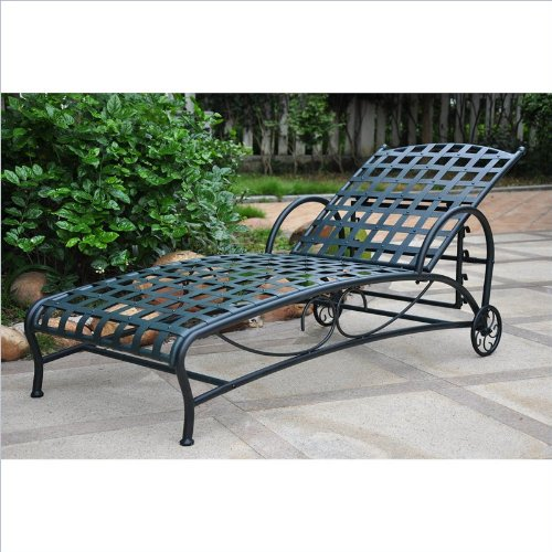 (International Caravan Santa Fe Iron Patio Chaise Lounge in Verdi Gris )