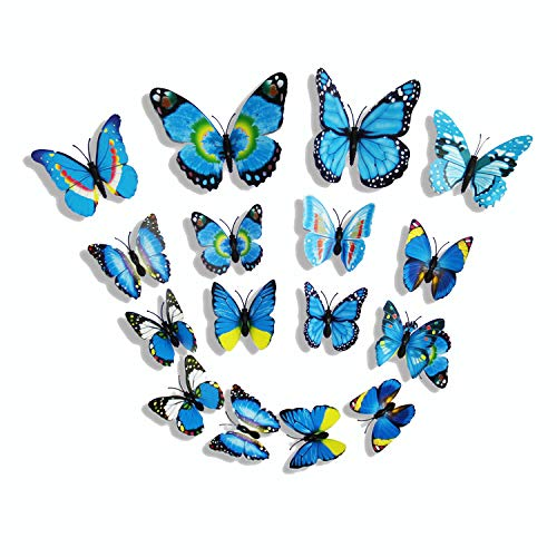 LEIMENG Butterfly Wall Sticker Decals for Room Home Nursery Decor 12PCS (Blue) (Butterfly On Wall The)