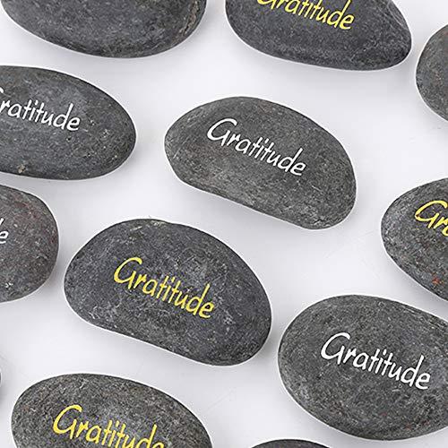 Gratitude Stone Inspiration Black Stones Engraved Pocket Word Stone Chakra Balancing Crystal Therapy Meditation Reiki Thumb Stones Palm Worry Rocks Wholesale by Rock Impact (Pack of 12, Gratitude)