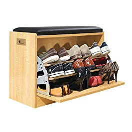 Collections Etc Wooden Shoe Cabinet Storage Bench w/Seat Cushion – Holds up to 12 Pairs