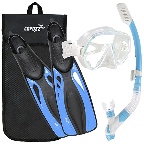 COPOZZ Snorkel Set With Fins Snorkel Mask For Adult Women Men Youth - Dry Top Snorkel + Safety Tempered Glass Snorkel Mask + Long Blade Full Foot Snorkel Fins - Edge Panoramic Low Mask