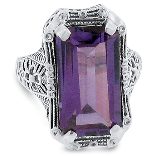 - 9 Ct Color Changing LAB Alexandrite Antique Deco Style 925 Silver Ring SZ 6 KN-1331