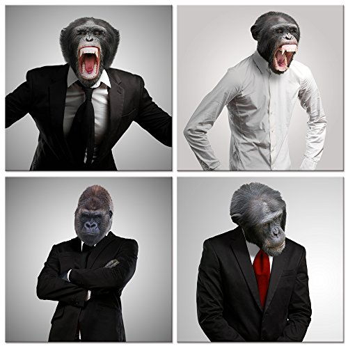 Kolo Wall Art Funny Gorilla White Collar Picture Canvas Wall Art Animals Wall Art Framed And Stretched Home Wall Decoration Artwork  16 X16 X4pcs