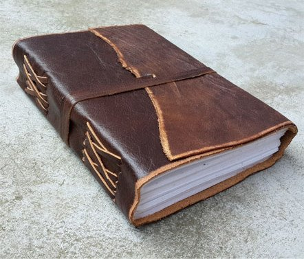 Antique Dark Brown Leather Journal Diary (Handmade)-Leather Cord Coptic bound 25% off!