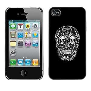 GOODTHINGS Funda Imagen Diseño Carcasa Tapa Trasera Negro Cover Skin Case para Apple Iphone 4 / 4S - cráneo negro muerte cruz de metal de la roca