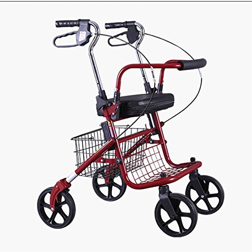 XIHAA Lightweight Folding Stainless Steel Rollator Walker, Height Adjustable Rollator With Handbrake For Disabled/Elderly People For Elderly Shopping With Seat And Basket(Red)