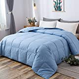 DOWNCOOL 100% Cotton Quilted Down Comforter with Corner Tabs - Blue Goose Duck Down Feather Filling - Lightweight and Medium Warmth Box Stitched All-Season Duvet Insert - King