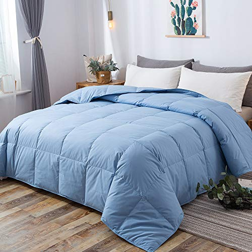 DOWNCOOL 100% Cotton Quilted Down Comforter with Corner Tabs - Blue Goose Duck Down Feather Filling - Lightweight and Medium Warmth Box Stitched All-Season Duvet Insert - Twin (Down Comforter Twin Light Blue)
