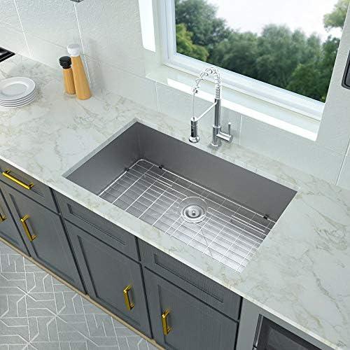 32 Kitchen Sink Undermount – Logmey 32 Inch Kitchen Sink Stainless Steel 18 Gauge Single Bowl Sink Basin with Strainer