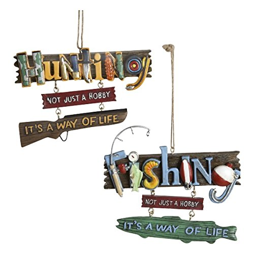 Fishing And Hunting Hanging Icon Words Ornament Set Of 2