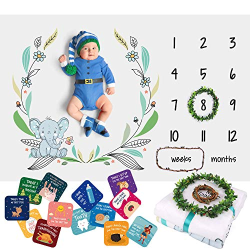 Baby Monthly Milestone Blanket for Boys Girls - Soft Fluffy Unisex Design - 60 x 40 in - 1 to 12 with Weeks and Months - Includes Wreath and String Markers, 18 Baby Milestone Cards and an e-Book]()