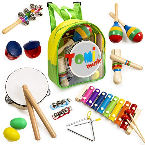 18 pcs Musical Instruments Set for Toddler and Preschool Kids  Tomi Music Toy - Wooden Percussion Toys for Boys and Girls Includes Xylophone - Promotes Early Development and Educational Learning.