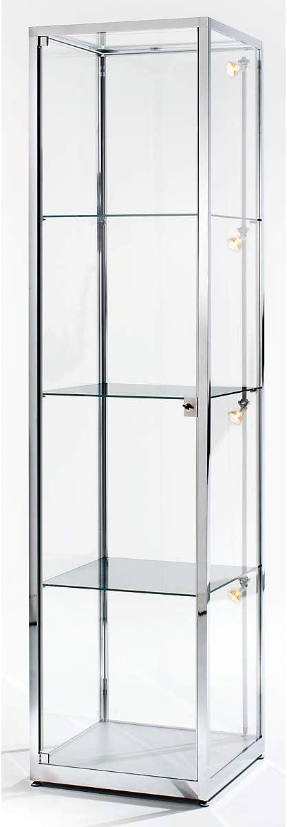 BST - Vitrina de columna (2000 mm de altura, 1 puerta giratoria, 400 x 400 mm, anodizado), color plateado: Amazon.es: Oficina y papelería