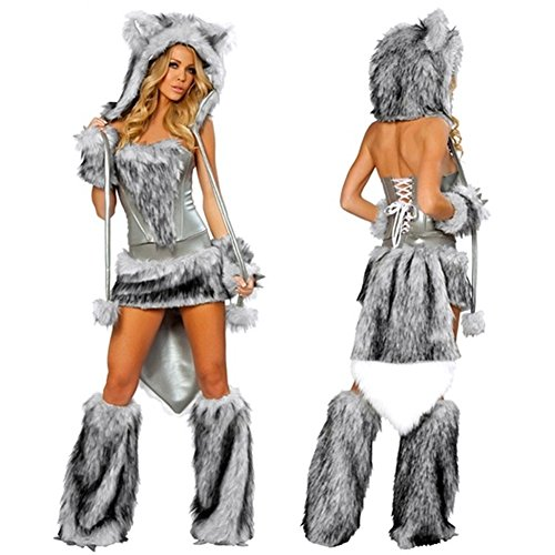 Cyclamen9 Women Sexy Alluring Fur Costume Cat Role Playing Stage Costumes For Christmas Party Cosplay Dress by (Fur Corset)