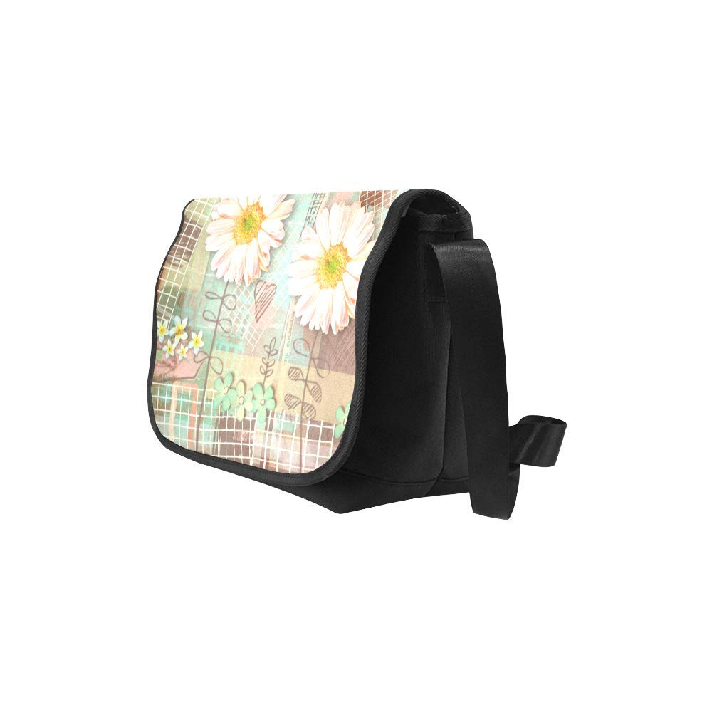 Black InterestPrint Spring Daisy Flowers Mens Womens Messenger Bag Crossbody Shoulder Bags for School Traveling