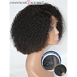 Chantiche Deep Parting Short Kinky Curly Lace Wigs For Black Women Natural Looking Brazilian Remy Human Hair Wigs With Right Part 14 Inch #1B(GL-0103)