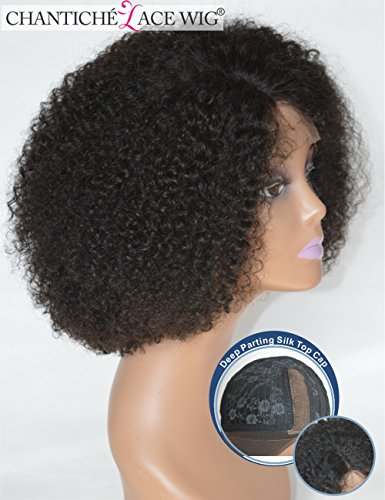 Chantiche Silk Top Invisible Deep Parting Short Kinky Curly Lace Wigs For Black Women Natural Looking Brazilian Remy Human Hair Full Wig With Right Part 14 Inch #1B(GL-0103) by Chantiche Lace Wig