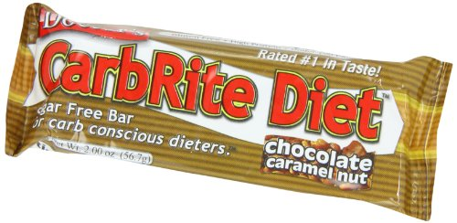 CarbRite Diet Bars - Keto, Low Carb, Sugar Free, Gluten Free, Fats, Protein - Chocolate Caramel Nut - 12 Bars