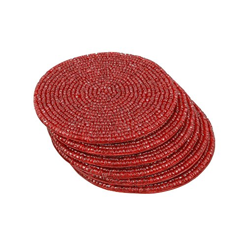 Handmade Indian Red Beaded Coasters product image
