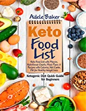 Keto Food List: Ketogenic Diet Quick Guide for Beginners: Keto Food List with Macros Nutritional Charts Meal Plans & Recipes with Calories Net Carbs Fat for Healthy Weight Loss (keto food list book)
