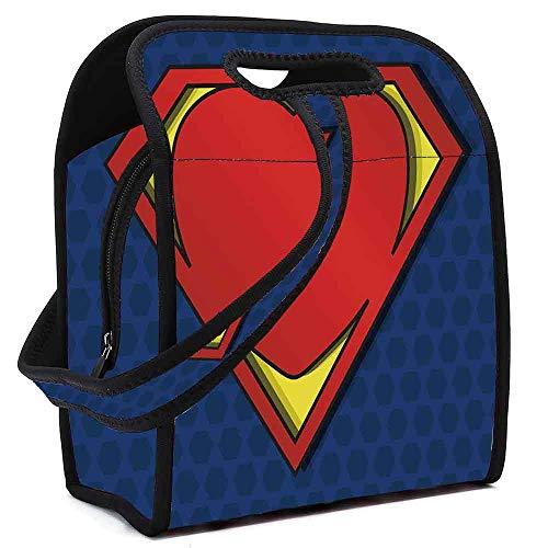 Superhero Wear Resisting Neoprene Lunch Bag,My Super Man Shield Logo with Heart Figure Valantines Romance Print for Picnic Beach Office,Square(8.5''L x 5.5''W x 11''H)