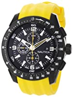 Nautica Men's N18599G NST 101 Yellow Resin and Black Dial Watch by Nautica