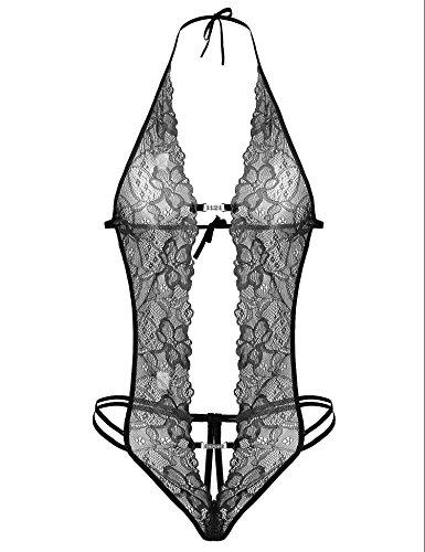 Imposes Women's Deep V Halter Lingerie Bodysuit One Piece Lace Babydoll Teddy, Black, (Fredericks Of Hollywood Lingerie)