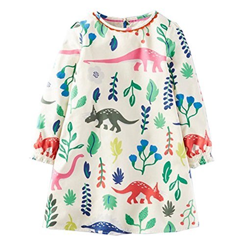 Price comparison product image Aosta Betty Spring Autumn Fall Baby Girl Dragon Printing Long Sleeve Dress 4T