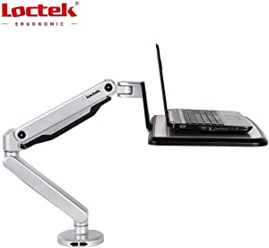 "Loctek Standing Mount Sit Stand Arm Workstation Gas Spring Laptop Mount Stand for 10""-17"" Notebook, Supports laptop weighting 2.2-15.4 lbs"