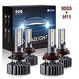 SEALIGHT 9005 HB3 H8 H11 LED Headlight Bulbs,Combo Package (2 sets) Seoul CSP Led Chips-12000LM Hi Lo Beam 6000K Xenon White,1 Yr Warranty