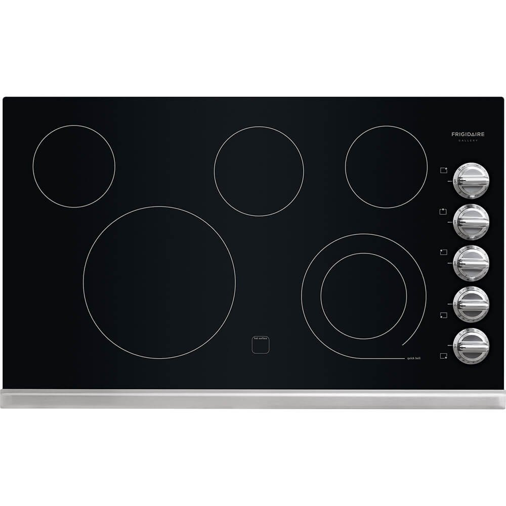 "Frigidaire Gallery 36"" Stainless Black Electric Smoothtop Cooktop FGEC3645PS"