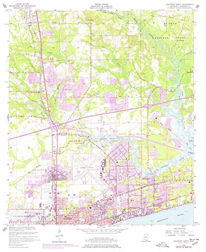 YellowMaps Gulfport North MS topo map, 1:24000 Scale, 7.5 X 7.5 Minute, Historical, 1954, Updated 1978, 26.8 x 22 in - Tyvek (West Mississippi Gulfport)