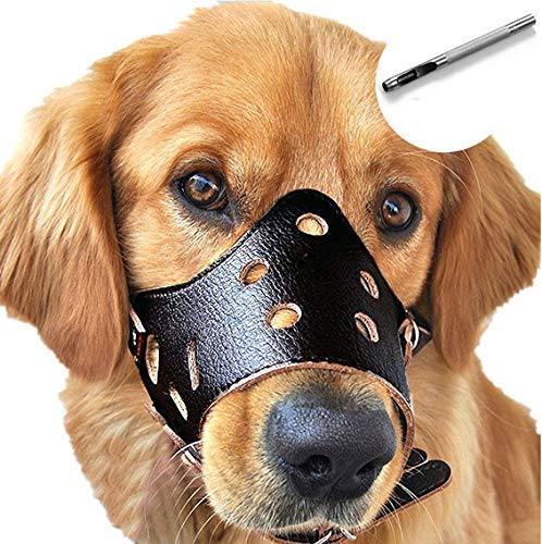 Dog Muzzle Leather, Comfort Secure Anti-barking Muzzles for Dog, Breathable and Adjustable, Allows Dringking and Eating, Used with Collars (M, Black)
