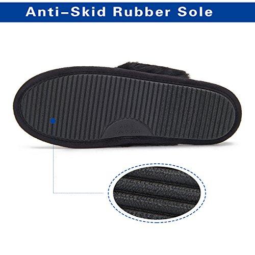 Black Insole Plush Mule Glitter Slip Slippers Outsole House Indoor Gold Women's Fur Foam Upper Anti Lining Sock Memory xqwY7Tx5p