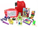 Deluxe Travel Activity Bag For Kids. Full of Travel Games & Travel Toys. Great Road Trip & Airplane Activities for Kids. Includes 16 Premium Items Like Magnetic Drawing Board, Fishing Game. Ages 5+