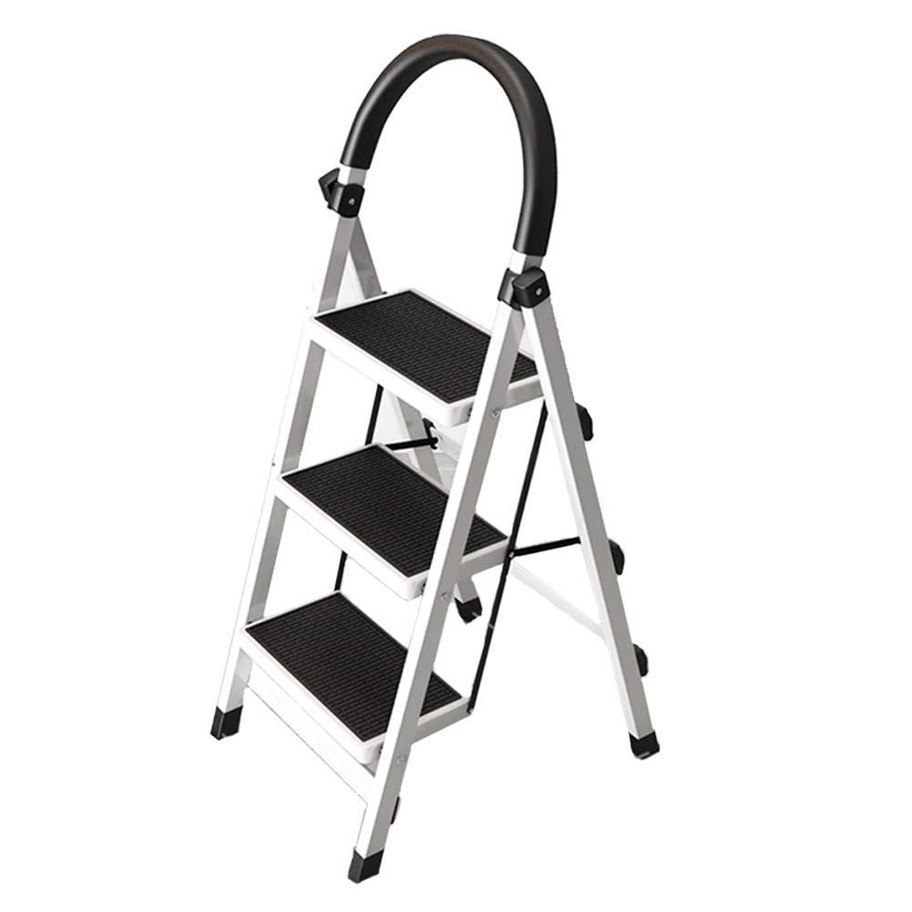 Color : Pink, Size : 3 step ladder Indoor A-Typ Leiter Haushalt Anti-Rutsch-Klapp 3 Stufenleiter 4 Stufenleiter Trittleiter Dickes Stahlrohr Teleskop-Multifunktionsleiter