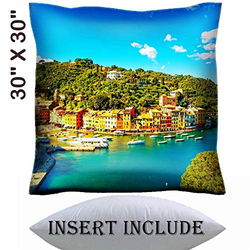 30x30 Throw Pillow Cover with Insert - Satin Polyester Pillow Case Decorative Euro Sham Cushion for Couch Bedroom Handmade IMAGE ID: 27718089 Portofino luxury landmark aerial panoramic view Villag
